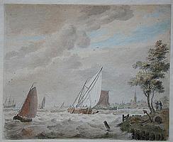 NOORDE, C. (Cornelis) VAN (1731-1795) Dorpsgezicht