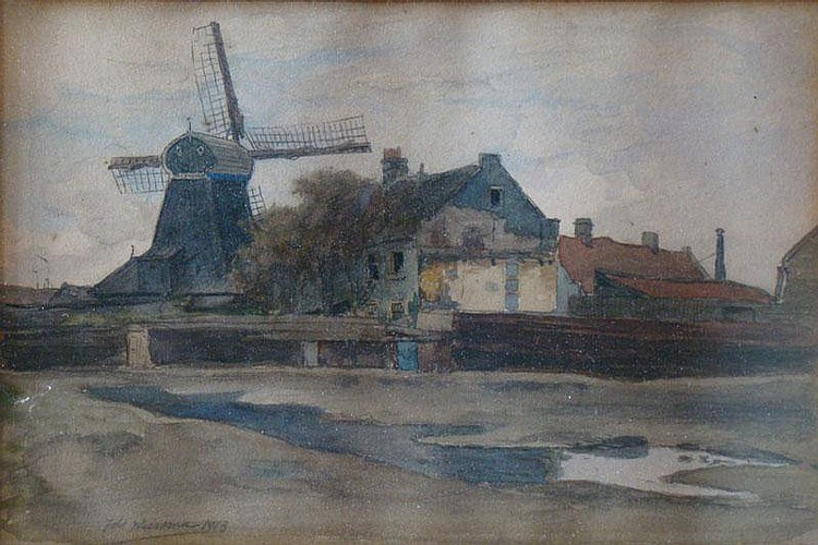 WIERSMA, I. (Ids) (1878-1965) View of windmill 'De