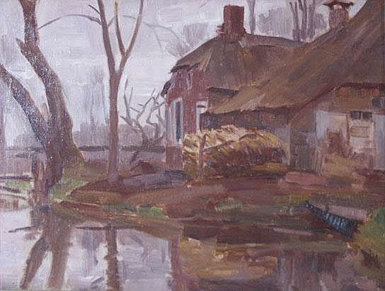 TROELSTRA, J. (Jelle) (1891-1979) Boerderij aan