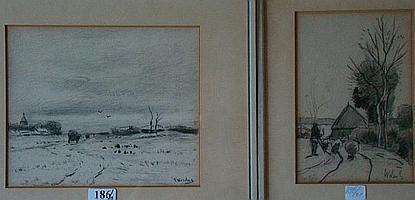 MESDAG, T (Taco) (1829-1902) Landschap met kar op
