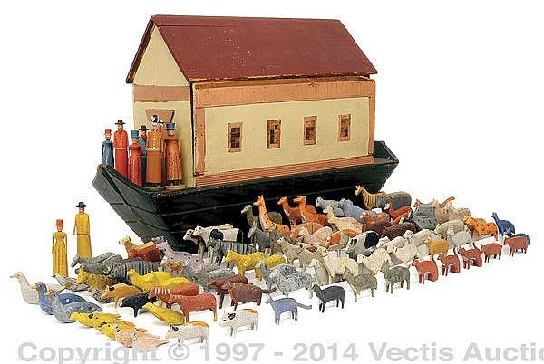 Noah's Ark Wooden And 90+ Figures German Circa