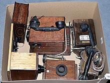 GRP inc Vintage Telephones x 4 mounted on Wooden