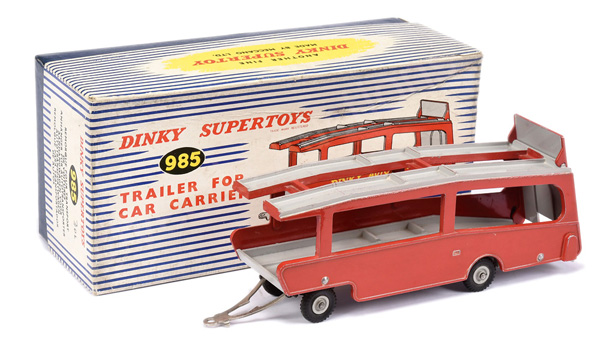 Dinky No.985 Trailer for Car Carrier - red, grey