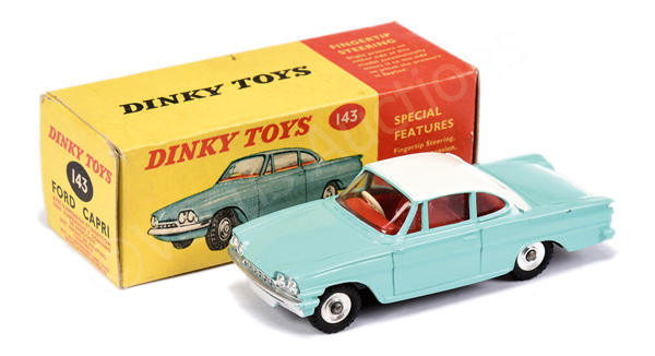 Dinky No.143 Ford Capri - turquoise, white roof