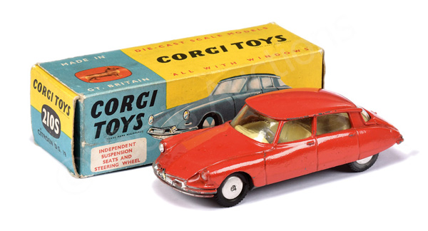 Corgi No.210S Citroen DS19 - red body, lemon