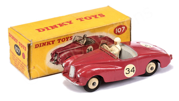 Dinky No.107 Sunbeam Alpine Sports Car - cerise