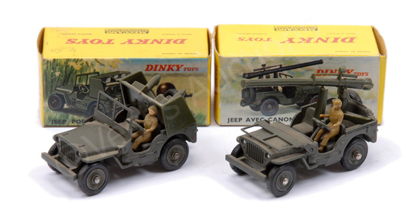 PAIR inc French Dinky No.828 Jeep with Rocket