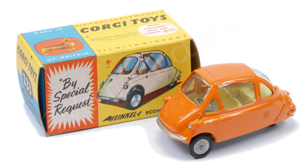 Corgi No.233 Heinkel Economy Car - orange body