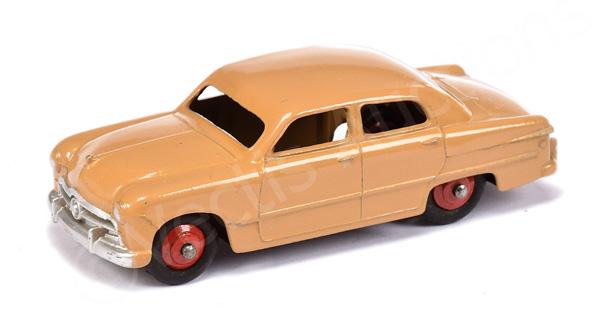 Dinky No.170 Ford Sedan - tan body, red ridged