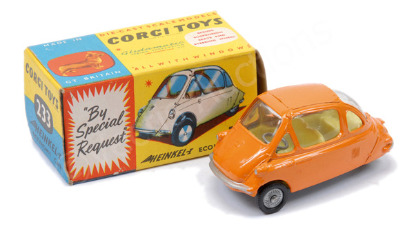 Corgi No.233 Heinkel Economy Car - orange, lemon