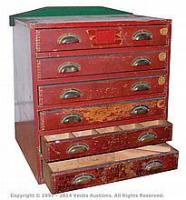 Meccano Dealer Display Cabinet 6-drawer wooden