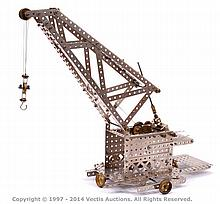 Meccano Mobile Luffing Crane in early nickel