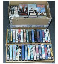 QTY inc VHS Film War/Shipping TV VHS's