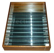 A wooden framed display cabinet with glass