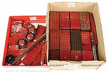 QTY inc Meccano assorted red loose Parts flanged