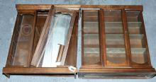 2 x Small Dark Wood Display Cabinets with glass
