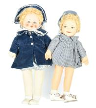 PAIR inc Chad Valley dolls, with cloth moulded