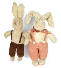 PAIR inc Pair of mohair dressed Rabbits, both
