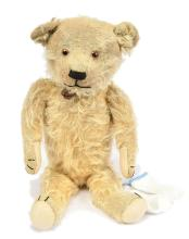 Early American golden mohair Teddy Bear, amber