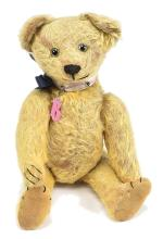 Early American golden mohair Teddy Bear, clear
