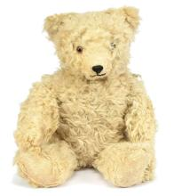 Blonde sheepskin Teddy Bear, British, 1950s
