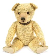 Early British golden mohair Teddy Bear, amber