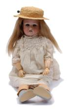 German bisque doll, impressed C 3, weighted blue