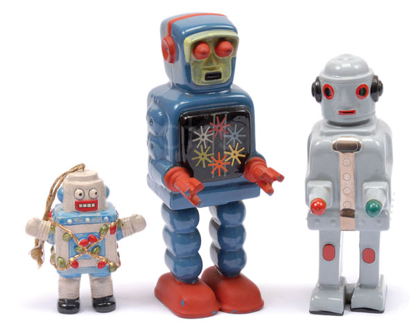 GRP inc Ditto (UK) Pottery Robot ornaments (x2)