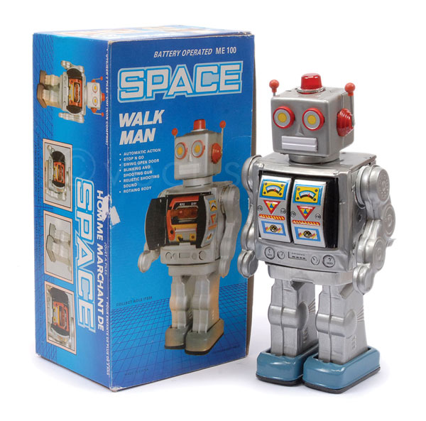 Space Walk Man (China). Silver tinplate battery
