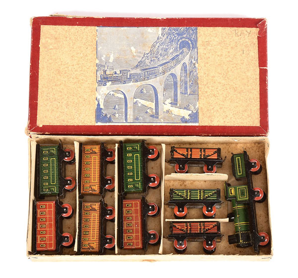 German Tinplate Penny Toy Train Set, probably