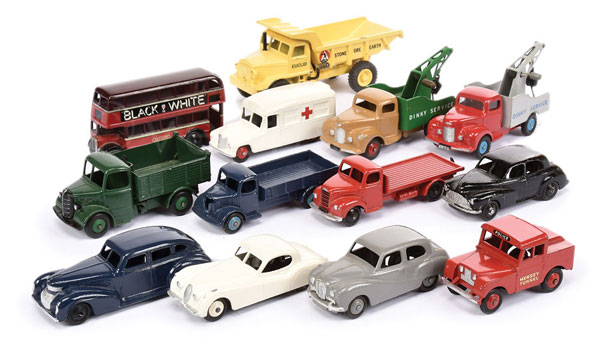 GRP inc Dinky Toys repainted models - red/grey