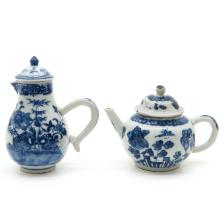 18th Century China Porcelain Teapot and Pitcher