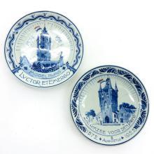 Lot of 2 Porceleyne Fles Delft Plates