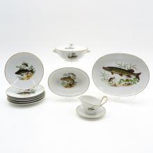 West German Porcelain Fish Service