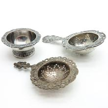 Lot of 2 Silver Tea Strainers and Holder