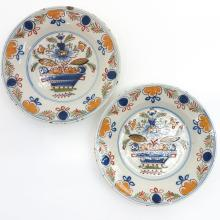 Lot of 2 18th Century Delft Plates