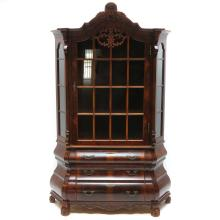 Walnut Veneer Double Serpentine Vitrine