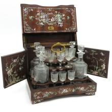 19th Century Mother of Pearl Inlay Liquor Cabinet