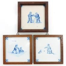 Lot of 3 Tiles Depicting Children Playing
