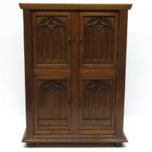 2 Door Oak Neo Gothic Cabinet