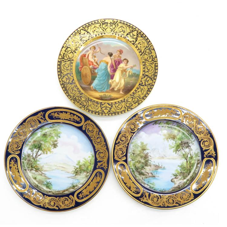 LOT OF 3 SEVRES PLATES