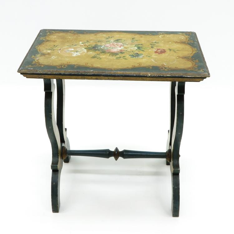 HAND PAINTED 19TH CENTURY SIDE TABLE