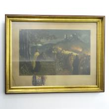 SIGNED LIONELLO BALESTRIERI LITHGRAPH WITH WATERCOLOR