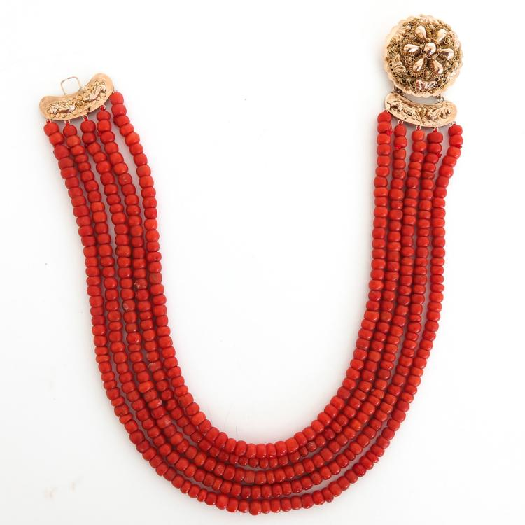 19TH CENTURY 5 STRAND RED CORAL NECKLACE ON 14KG CLASP