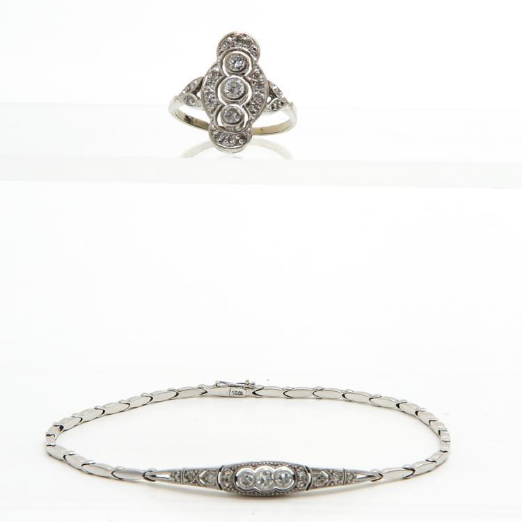 14KWG ART DECO DIAMOND BRACELET AND RING