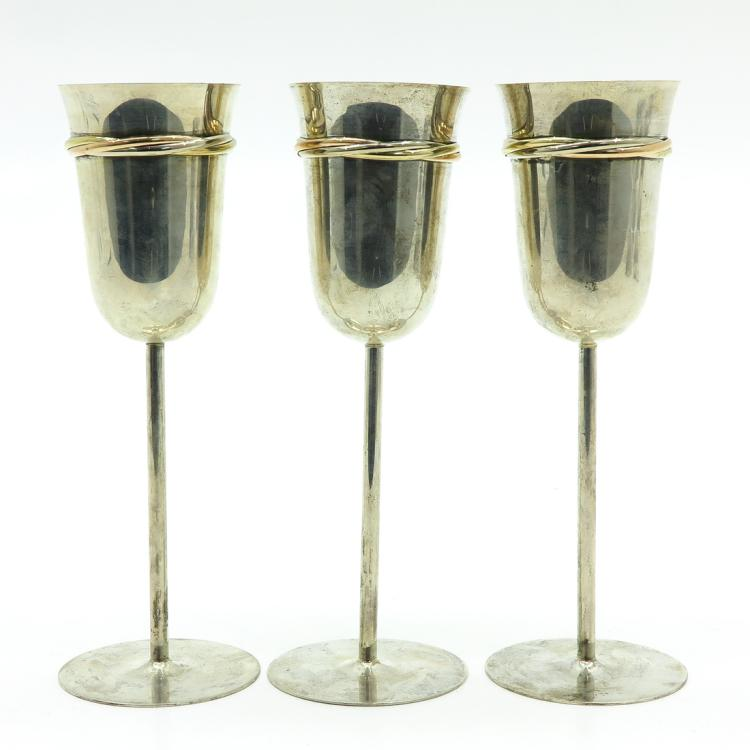 LOT OF 3 SILVER CARTIER WINE STEMS