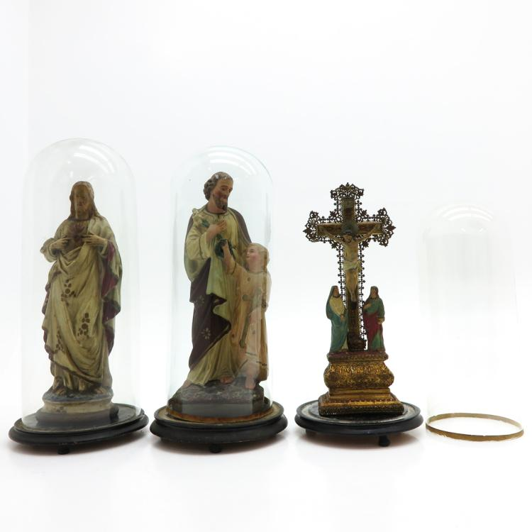 LOT OF 3 RELIGIOUS SCULPTURE WITH DOMES