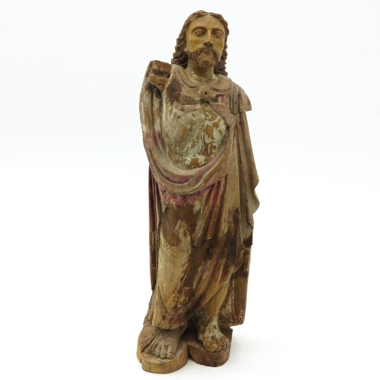 CARVED WOOD SCULPTURE DEPICTING CHRIST CIRCA 1780