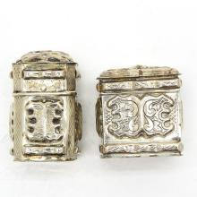 LOT OF 2 19TH CENTURY DUTCH SILVER SCENT BOXES
