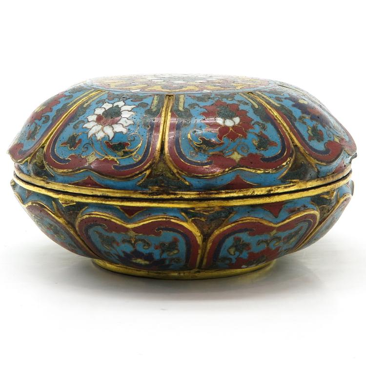 COVERED CLOISONNE BOX